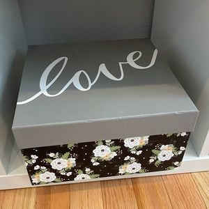Other - Love Floral Gray Decorative Box Storage Box